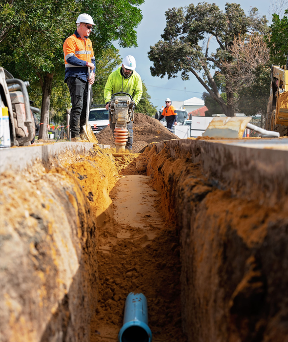 Photo showing SA Waters making a water main repair