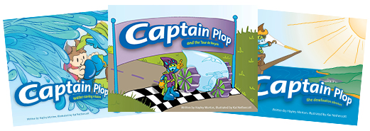 Covers of the three Captain Plop books